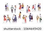 Standing lonely single girl surrounded by happy romantic couples walking together or pairs of men and women on date. Flat cartoon characters isolated on white background. Colorful vector illustration.