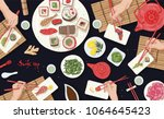 horizontal banner with people... | Shutterstock .eps vector #1064645423