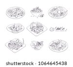 set of different salads served... | Shutterstock .eps vector #1064645438
