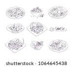 set of different salads served... | Shutterstock .eps vector #1064645438