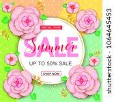 summer sale banner design with... | Shutterstock .eps vector #1064645453