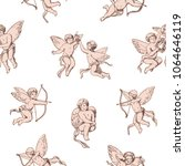 seamless pattern cupids holding ... | Shutterstock .eps vector #1064646119