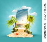 wonderful tropical landscape... | Shutterstock . vector #1064646326