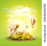 unusual 3d illustration of a... | Shutterstock . vector #1064646350