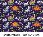 happy halloween. funny cartoon... | Shutterstock .eps vector #1064647226