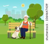 grandfather sitting on wooden... | Shutterstock .eps vector #1064647439