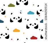 seamless pattern with pandas ... | Shutterstock .eps vector #1064650514