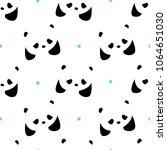seamless pattern with pandas ... | Shutterstock .eps vector #1064651030