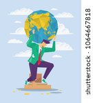 businessman is holding earth on ... | Shutterstock .eps vector #1064667818