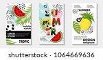 trendy tropic and  fruit ... | Shutterstock .eps vector #1064669636