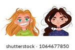 character emotions avatar cute... | Shutterstock .eps vector #1064677850