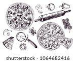 pizza with pepperoni  olives...   Shutterstock .eps vector #1064682416