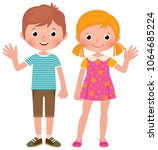 boy and girl in full length... | Shutterstock .eps vector #1064685224
