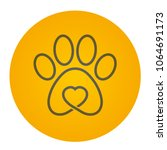 Stock vector vector yellow circle icon logo dog cat track with heart 1064691173