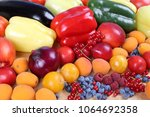 fresh  colorful fruits and...   Shutterstock . vector #1064692358