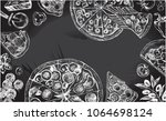 background with round pizza ... | Shutterstock .eps vector #1064698124