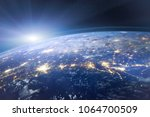 beautiful planet earth seen... | Shutterstock . vector #1064700509