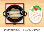 fried fish in a pan | Shutterstock .eps vector #1064701934