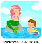mermaid sitting on a rock in... | Shutterstock . vector #1064704148