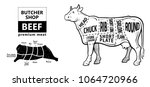 cut of beef set. poster butcher ... | Shutterstock .eps vector #1064720966