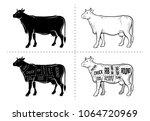 cut of beef set. poster butcher ... | Shutterstock .eps vector #1064720969