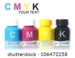 bottles of ink in cmyk colors | Shutterstock . vector #106472258