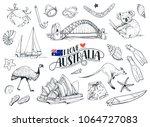 set on hand drawn australian... | Shutterstock .eps vector #1064727083