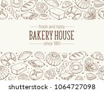 bakery house. horizontal border ... | Shutterstock .eps vector #1064727098