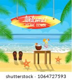 beach things and surfboard... | Shutterstock . vector #1064727593
