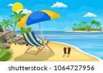 landscape of wooden chaise... | Shutterstock . vector #1064727956