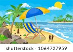 landscape of wooden chaise... | Shutterstock . vector #1064727959