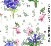 seamless floral pattern with... | Shutterstock . vector #1064729699