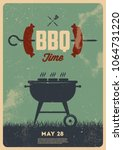 bbq time. vintage poster | Shutterstock .eps vector #1064731220