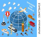 tourist discoveries isometric... | Shutterstock .eps vector #1064736413