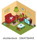 ordinary life of old lady and... | Shutterstock .eps vector #1064736443