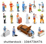 worker professions including... | Shutterstock .eps vector #1064736476