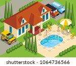 rich people with friends during ...   Shutterstock .eps vector #1064736566