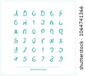 hand drawn alphabet letters and ... | Shutterstock .eps vector #1064741366