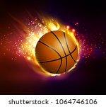 flying basketball on fire | Shutterstock .eps vector #1064746106