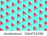 pieces of red watermelon summer ... | Shutterstock . vector #1064751950