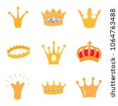 set of gold crown icons. vector ... | Shutterstock .eps vector #1064763488