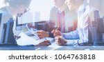 business people working on... | Shutterstock . vector #1064763818
