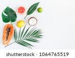summer tropical composition.... | Shutterstock . vector #1064765519