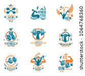 vector weightlifting theme... | Shutterstock .eps vector #1064768360