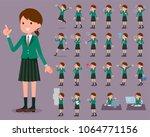 Stock vector flat type school girl green blazer 1064771156