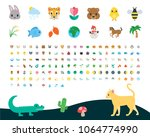 all type of nature  animals ... | Shutterstock .eps vector #1064774990