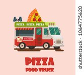vector colorful flat pizza... | Shutterstock .eps vector #1064775620