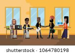 business meeting indian and... | Shutterstock .eps vector #1064780198