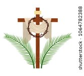 cross with crown of thorns | Shutterstock .eps vector #1064782388