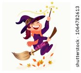 a little girl witch on a... | Shutterstock .eps vector #1064782613
